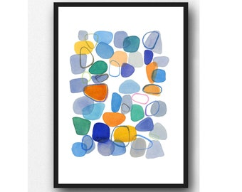 Colorful Abstract Watercolor Painting, Beach Pebbles, Sea pottery, Colorful Wall Art, Abstract Art, limited edition