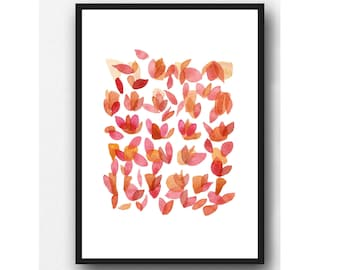 Abstract Pink Floral Wall Decor, Coral Abstract painting, Pink Floral Watercolor Art, Rose Petals Art Print