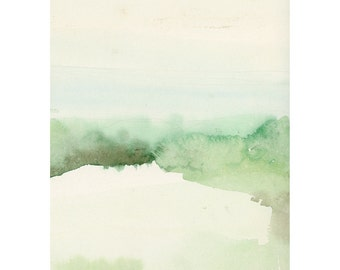 Landscape painting, watercolor painting, green shore, The Dutch Wadden Sea Islands, Fine art print