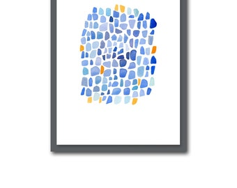 Cobalt blue Abstract watercolor painting blue orange watercolor print  nautical home decor Sea glass art