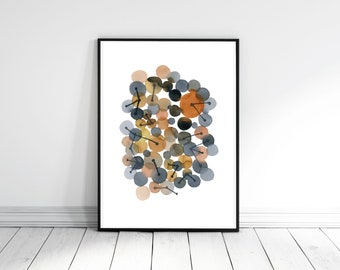 Minimalist Wall Art,  Abstract  Watercolor Art, Brown Gray Print, Connections