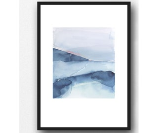 Landscape Painting, Fine Art Print, Blue landscape Watercolor Painting, Beach House Decor