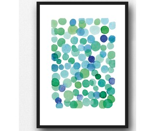 Green-Blue Abstract Art Print, Watercolor painting, Beach House Art
