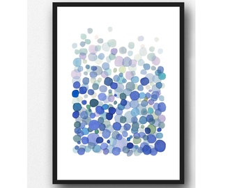 Abstract Watercolor Print,  Minimalist Watercolor Painting Cobalt Blue Bubbles, Waterdrop Art abstract print