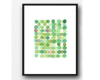 "Original Watercolor Painting, Green Circles, Abstract Art,  9 x 12"" Original Artwork"