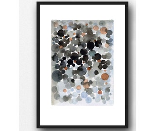 Black Abstract Watercolor Painting, Modern Art for Living room