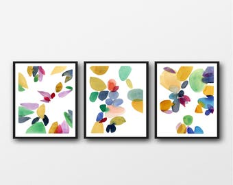 Set of 3 Prints, watercolor prints, Colorful Wall Art,  Colorful Art Print Set, Living Room Wall Art