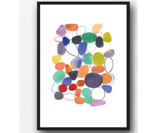 Abstract Watercolor Painting, Colorful Contemporary Art Print, Modern Living Room decor