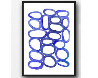 Abstract minimal watercolor blue pebbles watercolor print - watercolor ultramarine circles abstract watercolor painting