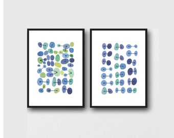 Blue Abstract Watercolor Paintings Set of 2 Prints, Laundry Room Decor