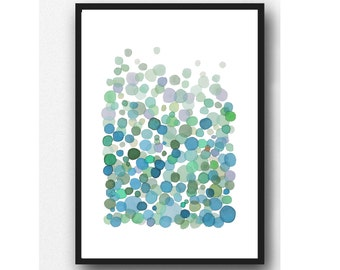 abstract watercolor wall art watercolor print, watercolor green painting Bubbles home decor, nursery room decor