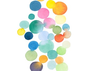 Art print Watercolor colored dots connected colorful wall decor watercolor print abstract watercolor painting, large print
