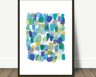 Watercolor Painting, Sea Glass, Watercolor Blue Green Beach Finds, Watercolor Print, Abstract Painting, Nautical Style