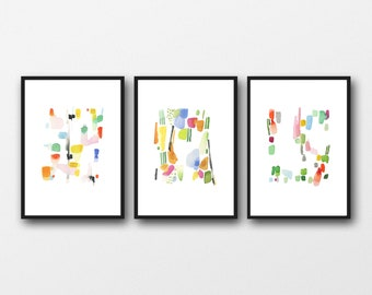 Abstract Paintings, Set of 3 Prints, Colorful Gallery Wall Art, Abstract Watercolor Art prints