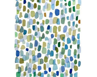Abstract watercolor painting Rain, Watercolor print, Watercolor art Giclee, large watercolor print,  blue green dots, abstract painting