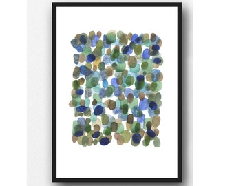 North Sea Rocks Seaglass fine art print Watercolor painting emerald green Cobalt  blue Abstract painting