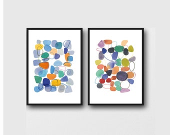 Colorful Office Decor, Set of 2 Abstract Watercolor Prints, Modern Wall Art Pebbles