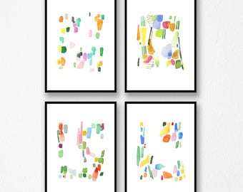 Abstract Painting, Set of 4 Giclee Prints Colorful Wall Art, Abstract Watercolor Art prints, 8x10  - 11x14