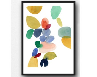 Modern Abstract Colorful Watercolor Painting, Multicolored Contemporary Wall Art