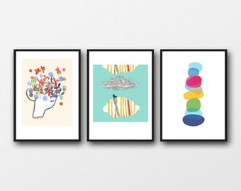 Wall Art for kids, set of 3 prints, Children's wall art, gift for children, girls room decor, nursery art prints