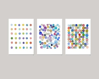 Wall Art Set of 3, Colorful Abstract Art Prints, Circles Art, Nursery decor
