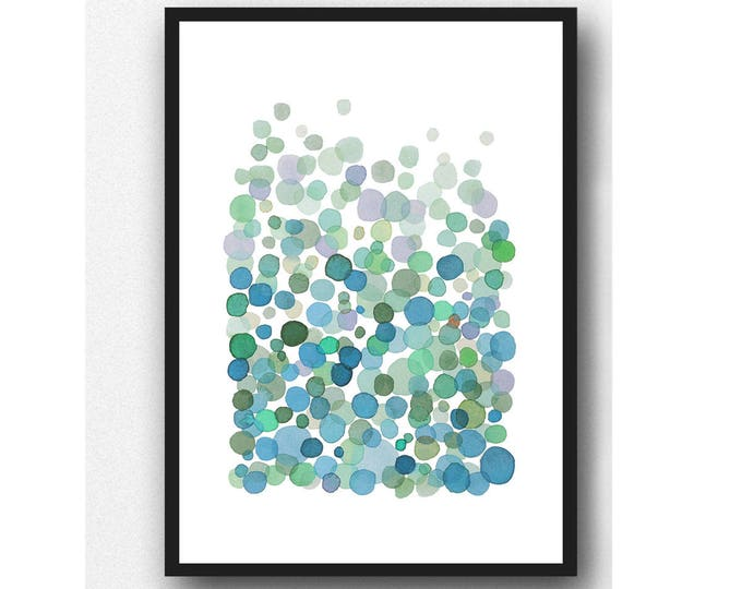 Featured listing image: Abstract print, watercolor art print, teal green abstract watercolor painting, modern fine art prints