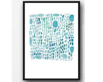 Sea Glass Art Watercolor painting, Aqua blue Abstract painting