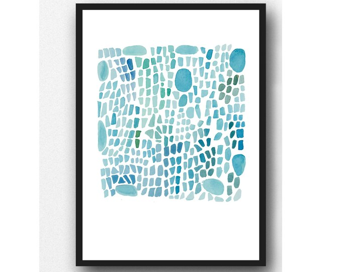 Featured listing image: Sea glass art, Turquoise Abstract Watercolor print, Beach House Decor