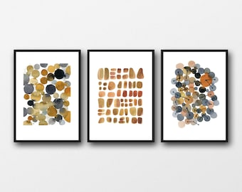 Set of 3 watercolor Art prints  'EARTH'