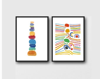 Set of 2 prints, Colorful Wall Art, Nursery Art, Kids room, Nursery Decor
