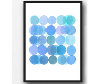 Blue Bubbles, watercolor blue painting, modern home decor, abstract Watercolor print, bubble painting blue bubbles