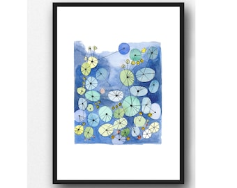 Watercolor print, cobalt blue painting Constellation watercolor geometrical, connected circles