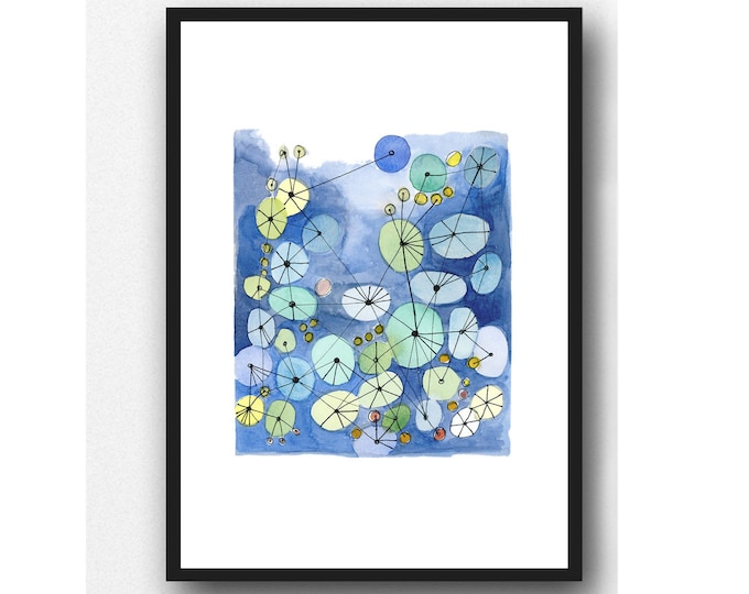 Featured listing image: Watercolor print, cobalt blue painting Constellation watercolor geometrical, connected circles