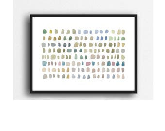 Watercolor Pebble Art Print, Abstract Watercolor Painting, Zen Decor, Abstract Minimalist Home Decor