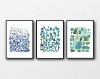 Set of 3 large prints, Nautical Beach house office decor, Blue Green Watercolor paintings