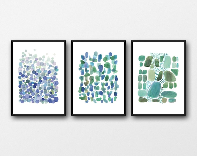 Featured listing image: Set of 3 large prints, Nautical Beach house office decor, Blue Green Watercolor paintings