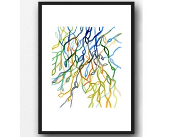 Watercolor painting, Colorful wall art, abstract modern watercolor print, modern home decor, Abstract watercolor