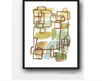 Giclee print of Watercolor Painting, Modern Abstract Art, Neutral Wall Decor