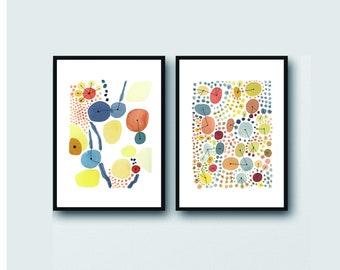 Watercolor Art, Set of 2 , Watercolor Paintings,  Orange Yellow Gray Abstract Art, Gallery Wall Art