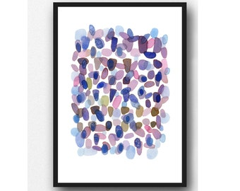Abstract Watercolor Painting, Purple plum Watercolor Print, Modern Wall Art