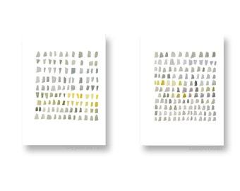 Abstract Minimal watercolor paintings, Set of two prints, Gray yellow neutral Art, abstract minimal art
