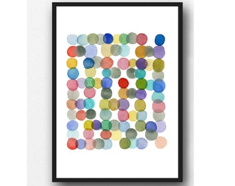 Abstract Watercolor Circles, Colorful art print by Louise van Terheijden, Happy art for nursery room.