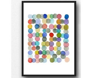 Abstract Watercolor Circles, Colorful art print by Louise van Terheijden, Happy art for nursery room.