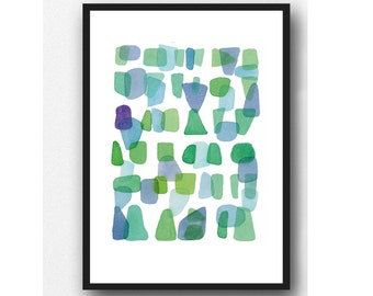 Sea Glass art print blue green, abstract watercolor painting green blue, watercolor print