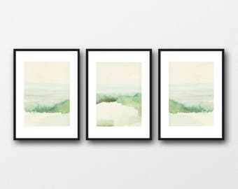 Watercolor prints landscape, Green Watercolor Landscape Paintings,  Set of 3 Prints, Landscape art prints