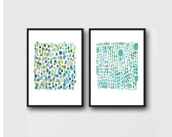 Nautical prints, Sea Glass Art, Set of 2 Blue Green Abstract Watercolor paintings,  Nautical Bathroom Decor