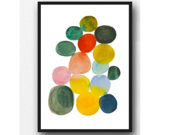 Abstract Watercolor Print, Giclee print, limited edition, colored dots, Colorful Modern Wall art