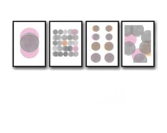 Abstract Watercolor Prints Set, Gray Pink, Set of 4 Watercolor Prints, Abstract Paintings, Minimalist Home Decor