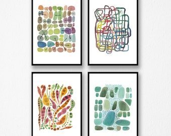 Set of 4 Watercolor Prints, Abstract Wall Art, Modern Gallery Wall Decor