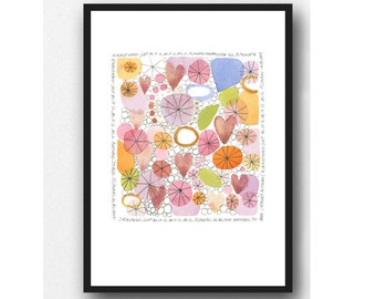Pastel Watercolor Print, Floral Watercolor painting, Gift for Her, Zen poem Word Art Print